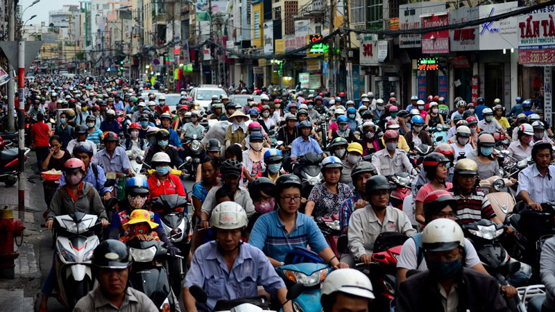 Traffic jam in HCMC