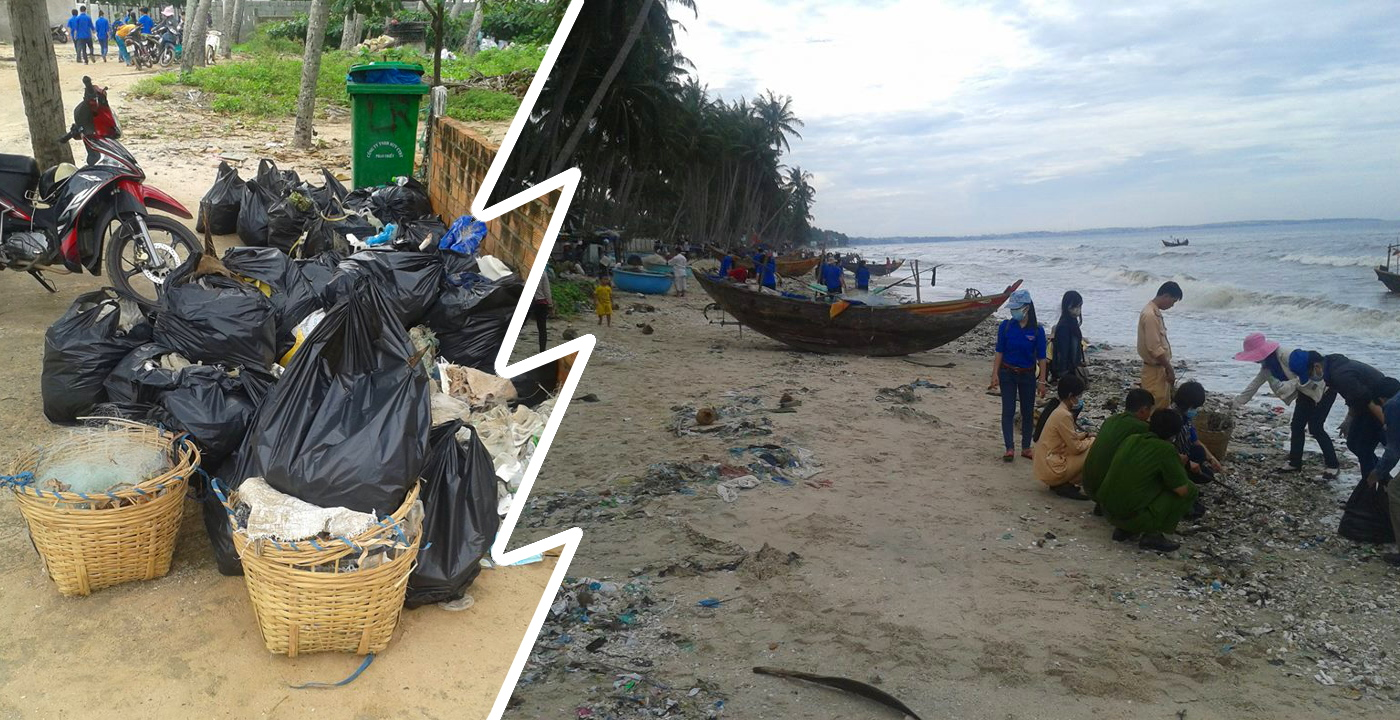 Students cleaning up the beaches of Phan Thiet